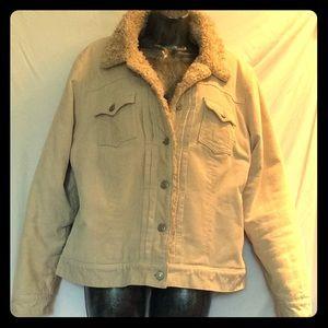 GAP tan faux sheepskin lined corduroy bomber coat